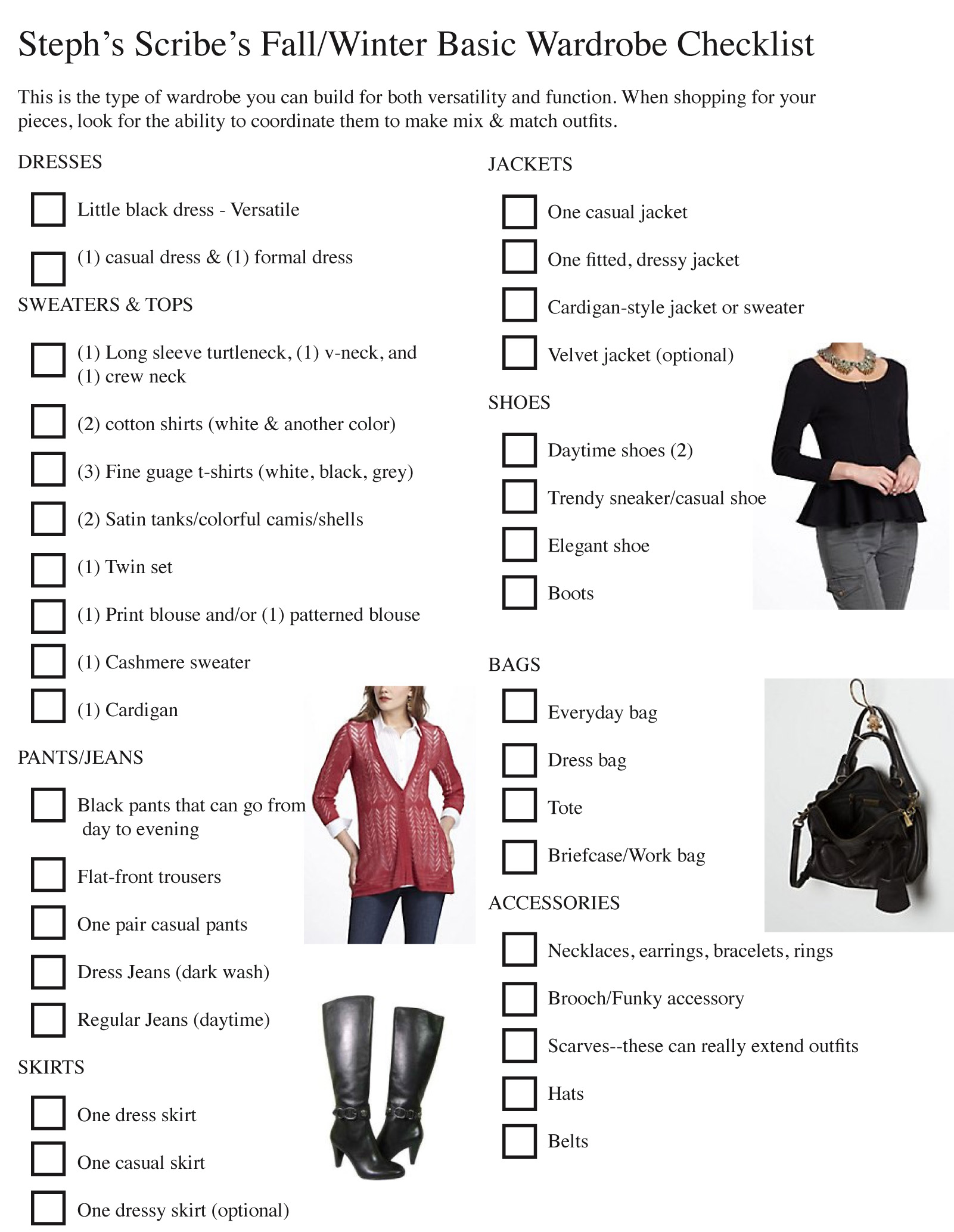 Fall/Winter Wardrobe Checklist As We Continue Fashion Fridays
