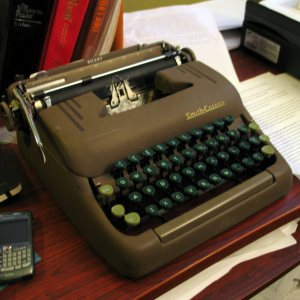 The Living Notebook's Typewriter that he uses. Love it.