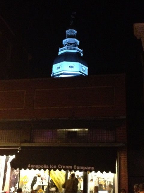 The Annapolis Ice Cream Company & The Capitol at night.