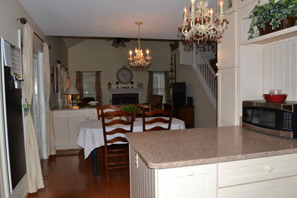 The chandeliers in my kitchen. They will remain with the house. I really adored these...amber stones accented our decor & color scheme.