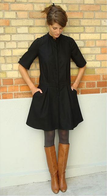 Black dress, sheer tights, tan boots. Classic and appropriate for a casual or more formal dinner setting where you're not certain of the dress code.