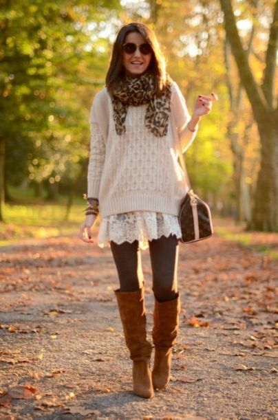 Another casual look, made contemporary with the scarf, boots, tights, and layering of tunic with sweater. Lovely, casual, and sweet.