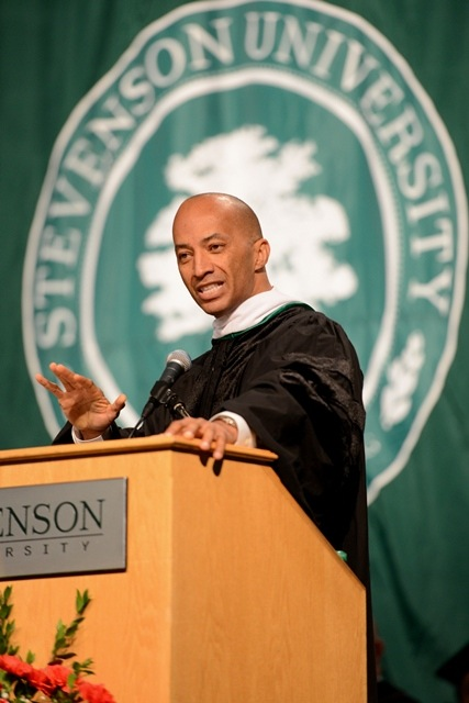 Stevenson University Commencement Speaker Byron Pitts of ABC News. Photo Credit: Stevenson University.