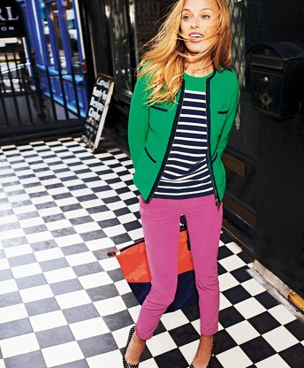 Pinks, greens and blues. This outfit comes together and is just plain fun.