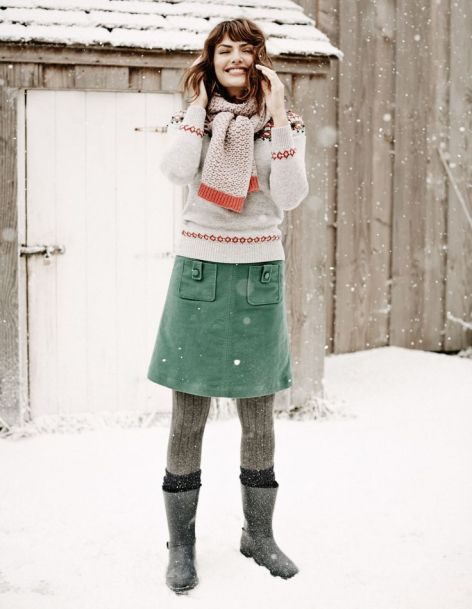 Just purchased this green skirt. Can be dressed up or dressed down. Pretty cute little number for snowy days, or just to wear for comfort.
