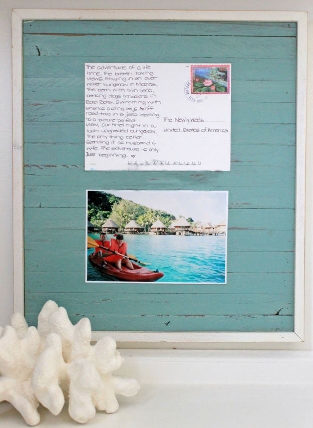 Frame your postcards. In this case, buy two...one to display the message, and one to display the image. For more, visit buzzfeed.com.