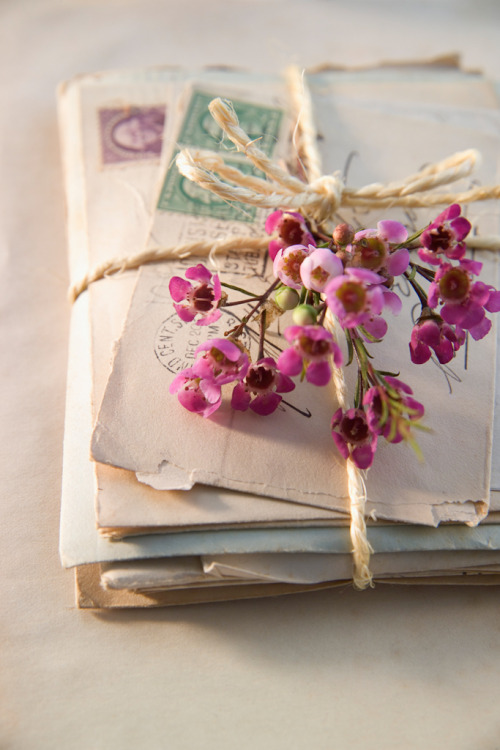 Display an old bundle of postcards or letters artistically. For more, visit gypsypurplehome.tumblr.com.