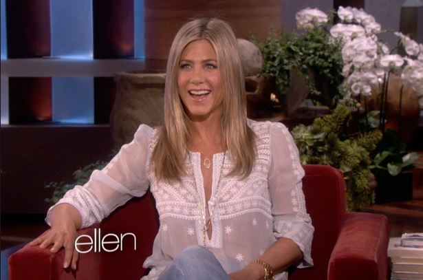 Jennifer Aniston wears sheer blouse in Ellen