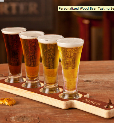 PersonalizedWoodBeerTastingSet with mini pilsnersAgiftpersonalized.com