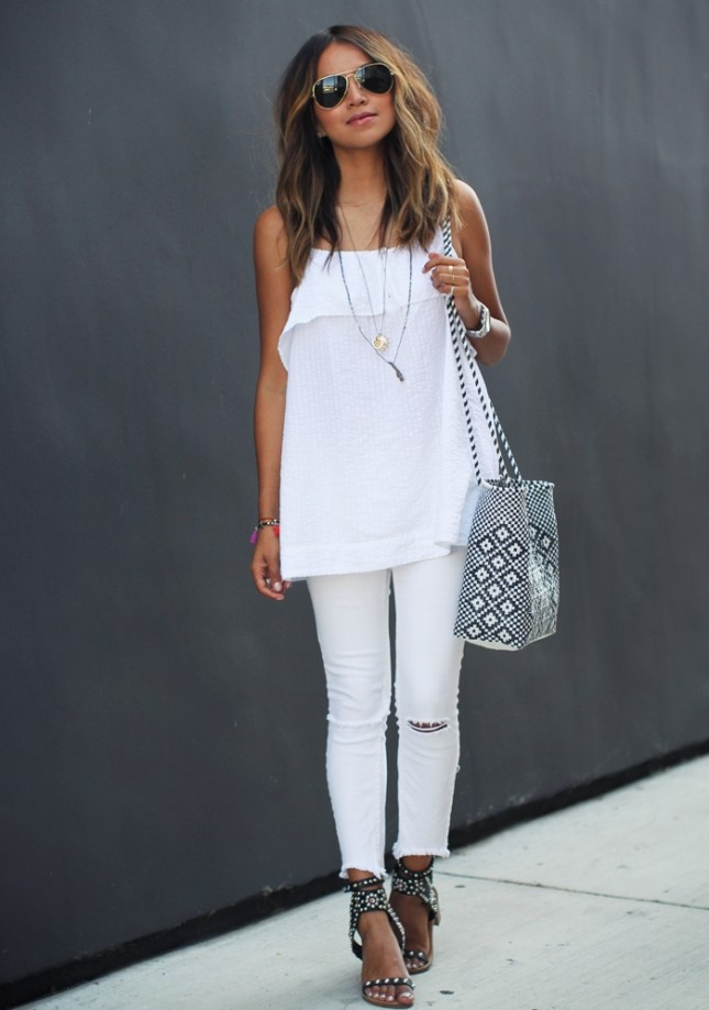 White top, white distressed jeans, sandals via Brit.co