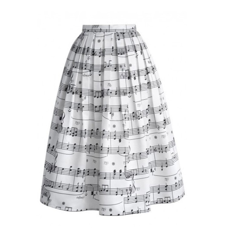 White skirt with musical notes from Aliexpress.com