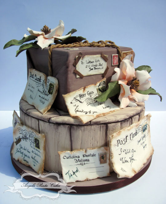 I don't know what I'd do if someone made this cake for me. It's absolutely stunning. Old postcards cake. For more, visit Angela Penta Cakes at www-facebook-compagesangela-penta-cakes536210989849901.jpg