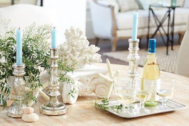 Beautiful Mercury glass display by Ballard Designs. www.ballarddesigns.com