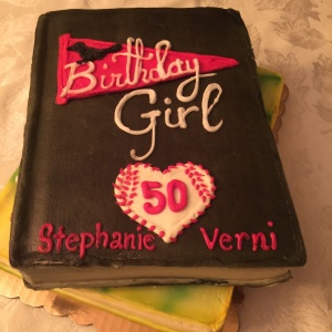 The cake my husband had made for me...a take off on the two books I've written, Baseball Girl and Beneath the Mimosa Tree. It was tasty, too!