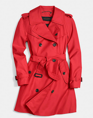 Coach mid-length red trench | Coach.com