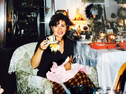 Me, unwrapping lots of presents and teacups, 1997.