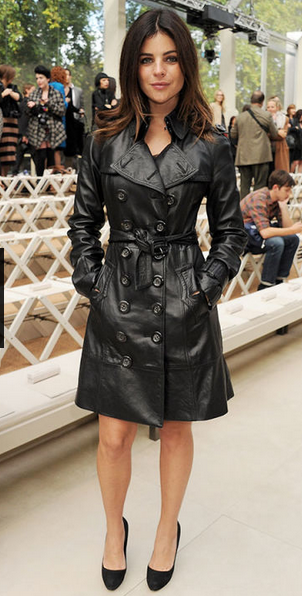 Julia Restoin Roitfeld in Burberry leather trench coat with black pumps. Photo credit: Dave Benett | Getty Images
