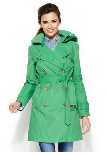 Tommy Hilfiger Green Trench | Macys.com