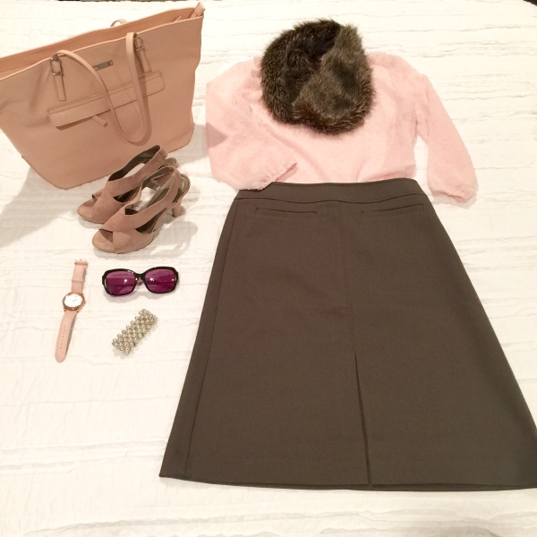 pink top grey skirt