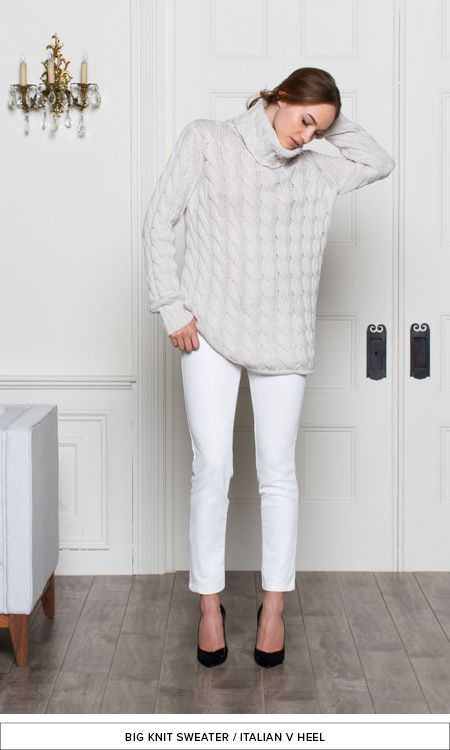 white jeans | white sweater