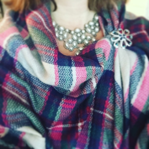 This BLANKET SCARF makes me happy for three reasons: the colors, that it's fashionable, and that my husband bought if for me. The BROOCH has been in my jewelry box since I was a fashion consultant. It's fun to BREAK IT OUT now and then.