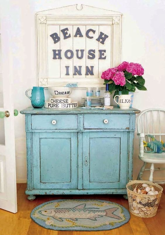 This turquoise cabinet was featured in a magazine and I've loved it ever since. The hutch in the corner of the dining area is red. However, during spring break I plant to turn the red hutch into a magnificent shade of turquoise. Another chalk paint project perhaps? Nevertheless, I absolutely love this color and it reminds me of a beach house.