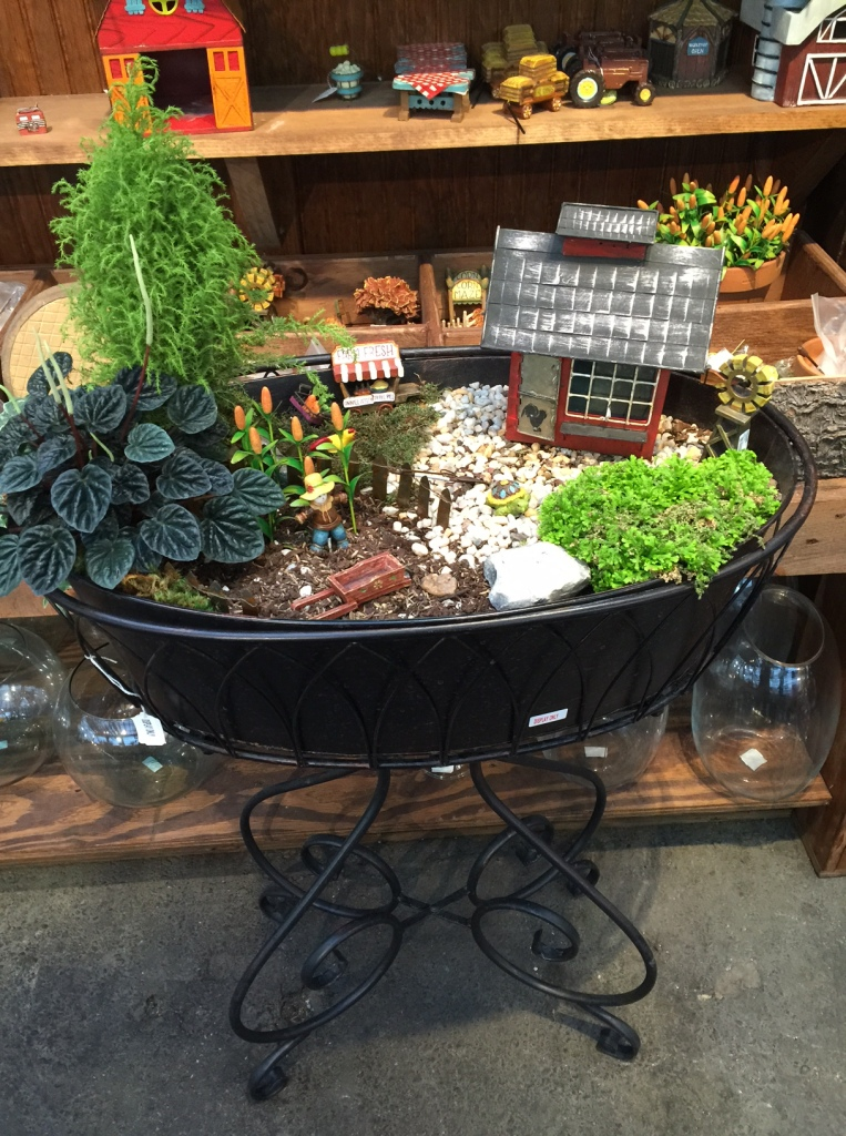 This was our inspiration for the container fairy garden from Homestead Gardens.