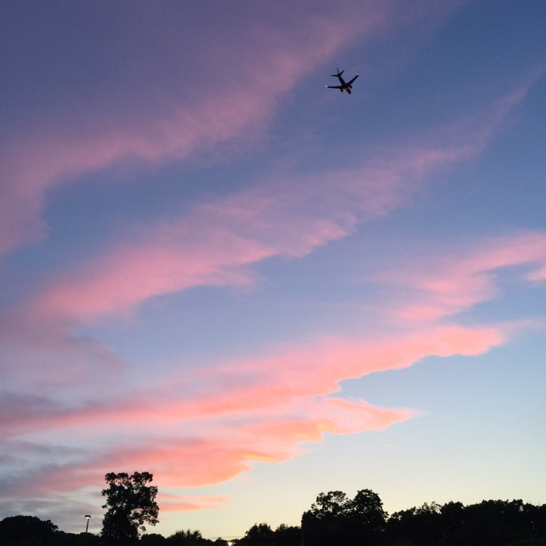 The beautiful sky from last night's walk...and airplane headed to BWI Airport.