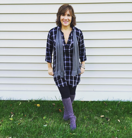 #FROCKTOBER | Day 23 Got the #Sunday vibes in this flannel #ootd. #soclothing flannel shirtdress; leggings and grey suede boots from #Boden. It's the start of my last week of #frocktober ... gotta pick some winners this week! The pressure's on...