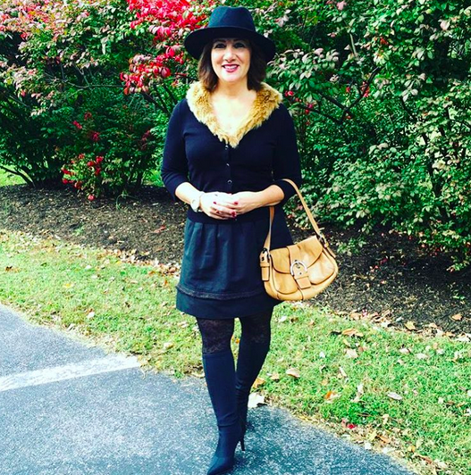 #FROCKTOBER | Day 24 With cooler temperatures moving in this week, it was time to sport a little faux fur in today's #ootd. Sweater with fur trim from #whitehouseblackmarket; skirt--an old favorite from #mossimo; tall pointed black boots from #charlesdavid; #maddengirl hat; #coach bag. Hope you all have a good week. Looking forward to rolling into Halloween next week and to celebrating my husband and my 19th anniversary.