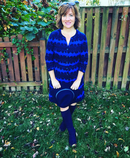 #FROCKTOBER   Day 25 Wearing #Boden from top to bottom in today's #ootd -- corduroy dress in navy and medium blue with (Elvis would be happy) blue suede (shoes) boots. #Mudd hat. It's chilly here and feels like fall. 🍁🍂🎃 Have a good evening, everyone!