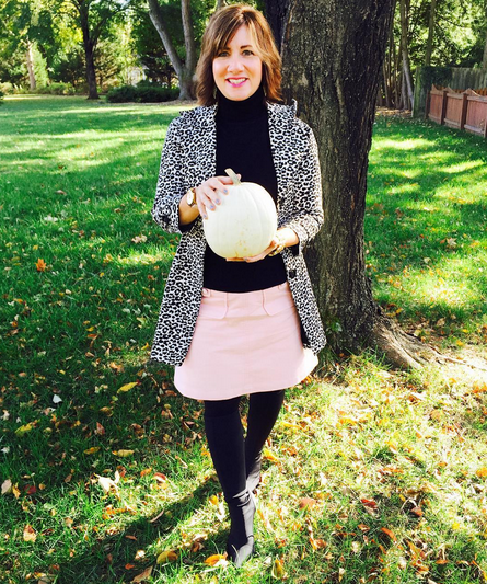 #FROCKTOBER   Day 28 -- Three more days left! I love white pumpkins and this pink #Boden skirt in today's #ootd. Black and white leopard coat from #forever21; black knit turtleneck with shoulder buttons from #primrosestudio; #charlesdavidboots. Happy Halloween weekend, witches! XO 🎃🎃🎃🍁🍂🍁