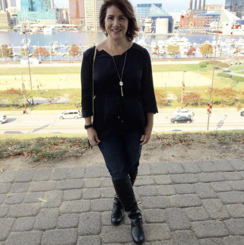 #FROCKTOBER | Day 29 Spending the day walking, shopping, and eating in #Baltimore -- stopping off in #federalhill in today's #ootd. #michaelkors jeans; #verawang top; #tahari boots.