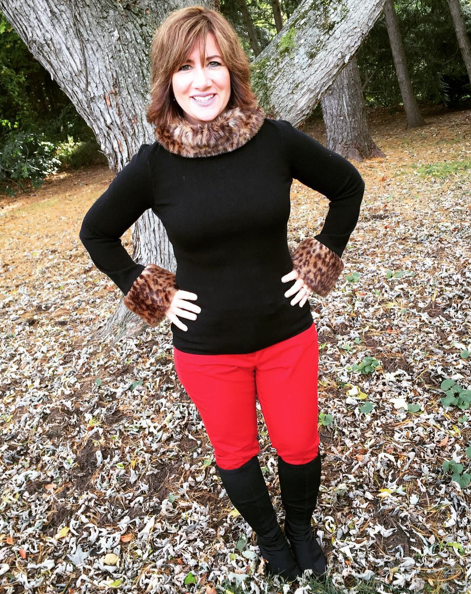 LAST DAY OF #FROCKTOBER   Day 31, Part 2--Thought I'd end the series with my favorite sweater with faux leopard sleeves and collar from #INC at #macys; red pants from #whitehouseblackmarket; black boots by #CharlesDavid. I had a lot of fun doing this...so perhaps there will be more fashion to come #ontheblog. Thanks for following along for the month to see #whatiwore. Ciao, Bellas!