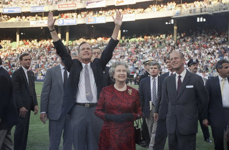 1991-president-george-hw-bush-escorted-the-queen-and-her-husband-onto-the-field-at-memorial-stadium-in-baltimore-where-the-royals-saw-the-orioles-play-the-oakland-as--it-was-the-first-ba